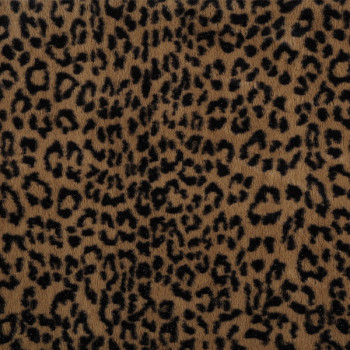 Tissu fausse fourrure léopard brun 150 cm