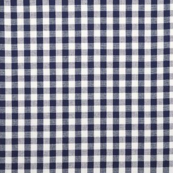 Tissu tissé teint coton vichy bleu 150 cm
