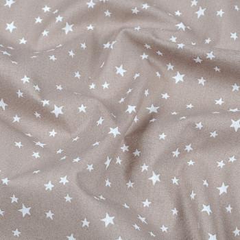 Tissu cretonne étoile taupe 140 cm