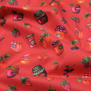 Tissu coton imprimé confiture rouge 115 cm