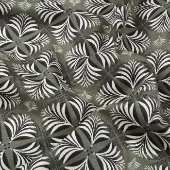Tissu cretonne art déco kaki Oekotex 160 cm