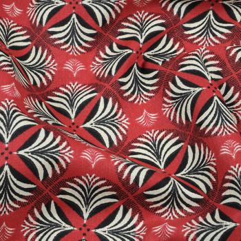 Tissu cretonne art déco rouge Oekotex 160 cm