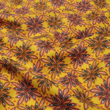 Tissu cretonne floral moutarde Oekotex 160 cm