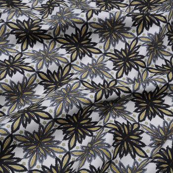 Tissu cretonne floral anthracite Oekotex 160 cm