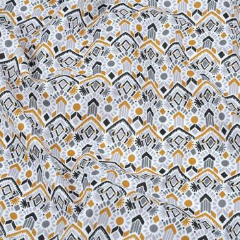 Tissu cretonne ethnique moutarde Oekotex 140 cm