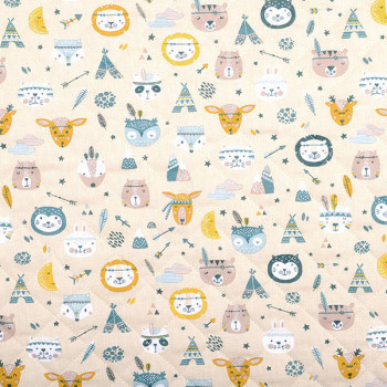 Tissu matelassé animaux beige 140 cm