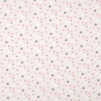 Tissu cretonne coeur étoile rose 140 cm