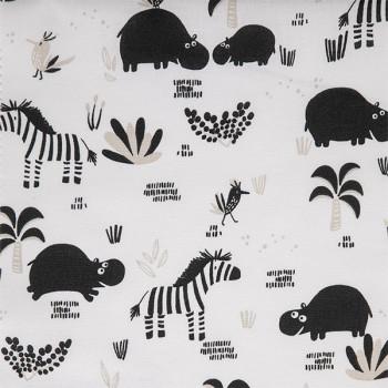 Tissu cretonne hippopotame 150 cm
