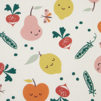 Tissu cretonne motif fruit légume 150 cm