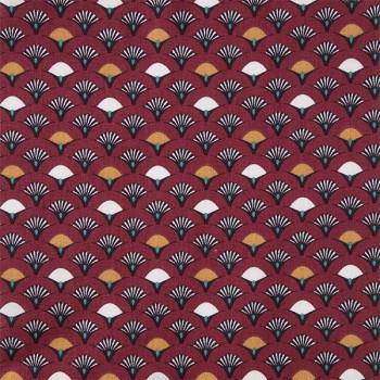 Tissu cretonne éventail rouge marine 150 cm