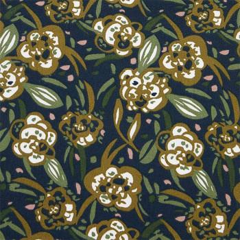 Tissu cretonne végétal vert olive 150 cm