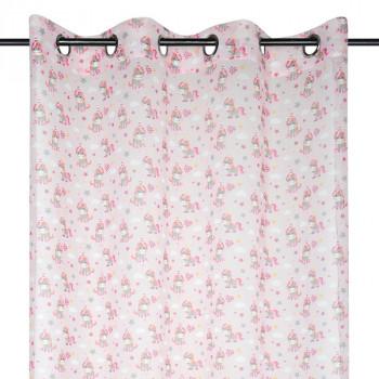 Rideau voilage étamine licorne rose