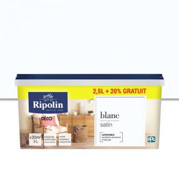 Peinture Ripolin Esprit Déco blanc satin 2.5L + 20% gratuit