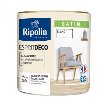 Peinture Ripolin Esprit Déco Murs, plafonds, boiseries et radiateurs blanc satin 0,5L