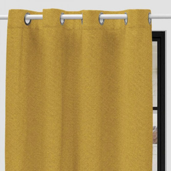 Rideau tissu jaune moutarde