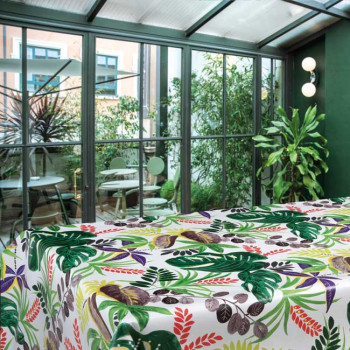 Toile cirée imprimé végétal vert 160 cm