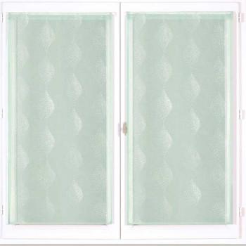 Paire de vitrage droit étamine vert 60 x 160 cm