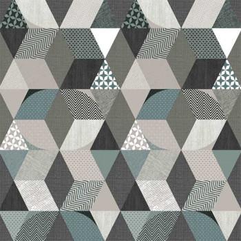 Toile cirée imprimé géométrique gris bleu 140 cm