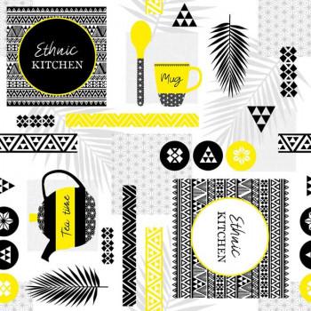 Toile cirée imprimé ethnique jaune noir 140 cm