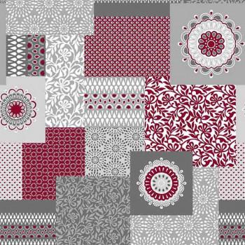 Toile cirée imprimé patchwork rouge 140 cm