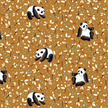 Tissu coton imprimé panda marron oekotex 150 cm