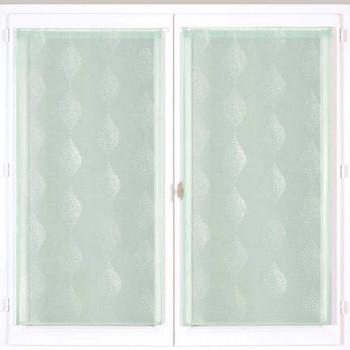Paire de vitrage droit étamine vert 60 x 90 cm