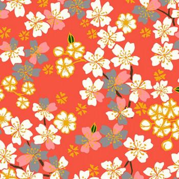 Tissu cretonne floral orange Oekotex 160 cm