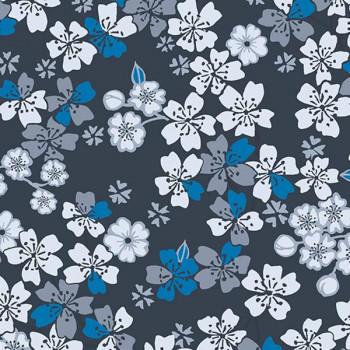 Tissu cretonne floral bleu Oekotex 160 cm