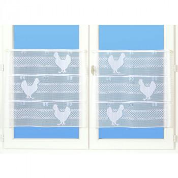 Vitrage maille motif poule blanc 90 cm
