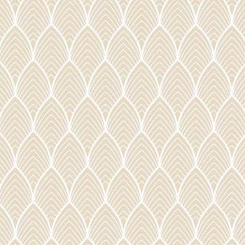 Tissu enduit motif géométrique beige 160 cm