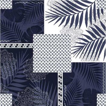 Toile cirée imprimé patchwork végétal bleu marine 140 cm