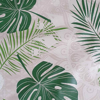 Toile cirée imprimé mandala végétal vert 140 cm