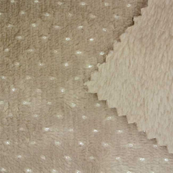 Tissu fausse fourrure taupe pois argenté 150 cm