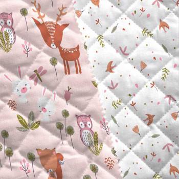 Tissu matelassé enfant imprimé forêt rose oekotex 150 cm