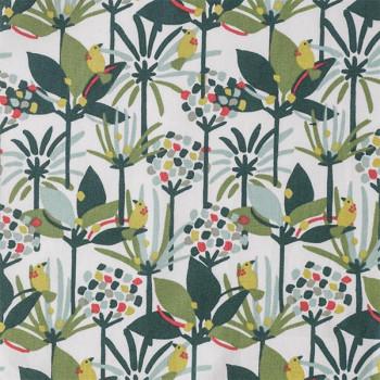 Tissu cretonne végétal oiseau vert 150 cm