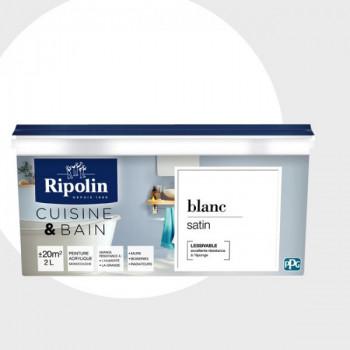 Peinture Ripolin multi-supports Cuisine & bain blanc satin 2L