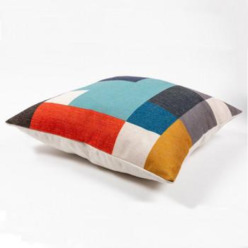 Coussin carré géométrique multicolore 45x45 cm