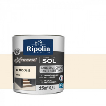 Peinture Ripolin extreme sol blanc cassé satin 0,5 L