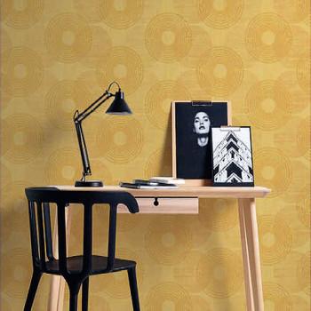 """Papier peint intissé """"mandala jaune"""""""