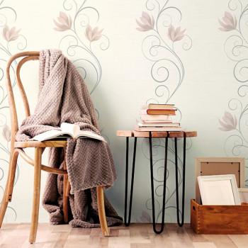 Papier peint intissé lessivable fleur arabesque