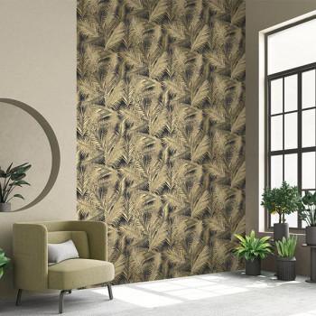 Papier peint intissé lessivable palme or
