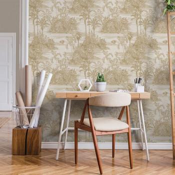 Papier peint intissé lessivable toile de jouy or