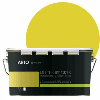 Peinture arto premium multi - supports murs, plafonds, boiseries, plinthes et radiateurs jaune colza satin 2,5 L