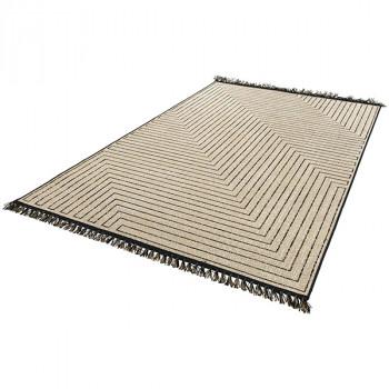 Tapis marron à motifs et à franges 160 x 230 cm
