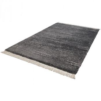 Tapis à motifs géométriques gris et blanc 200 x 290 cm