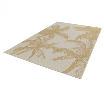 Tapis à motif palmiers jaunes 120 x 170 cm