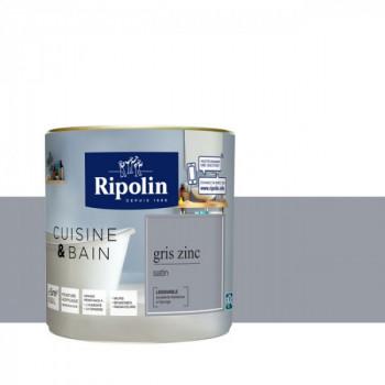 Peinture Ripolin multi-supports Cuisine & bain gris zinc satin 0,5L