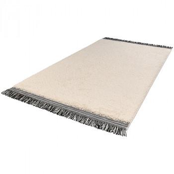 Tapis beige uni à franges noires 160 x 230 cm
