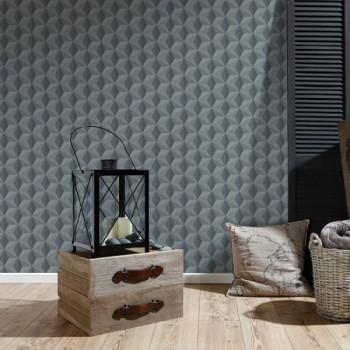 Papier peint intissé lessivable cube 3D noir et gris