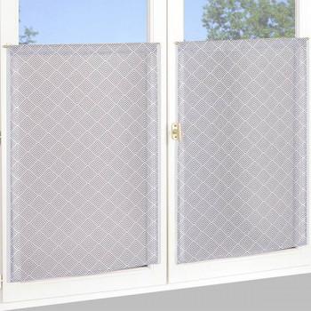 Paire de vitrage blanc à losanges gris 60 x 160 cm